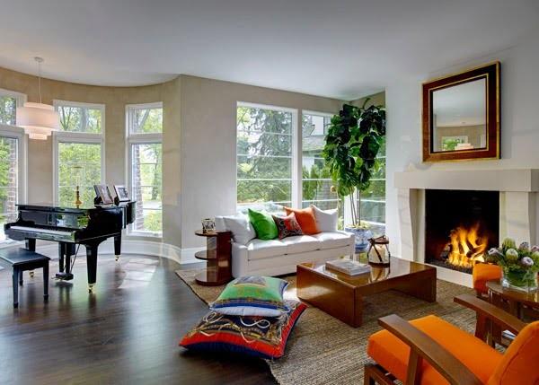 Espectaculares dise os de salas de estar con chimeneas - Chimeneas para decorar ...