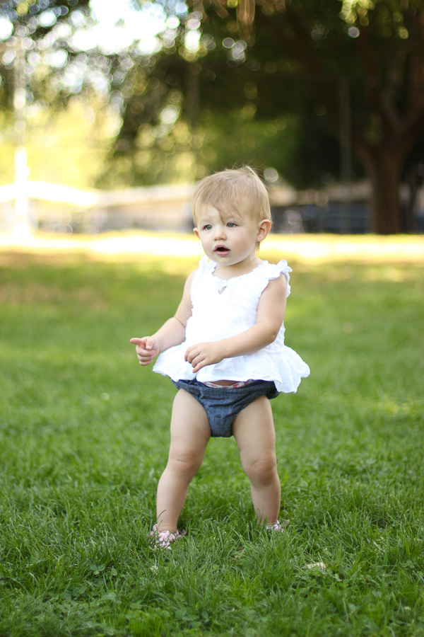 denim bloomers white tank baby