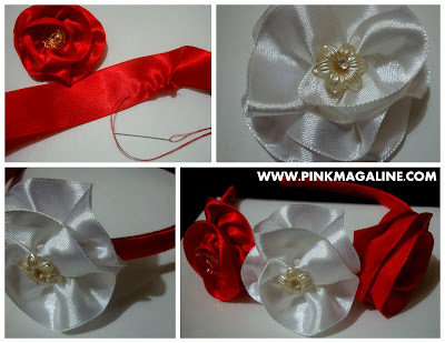 DIY Red & White Flower Headband
