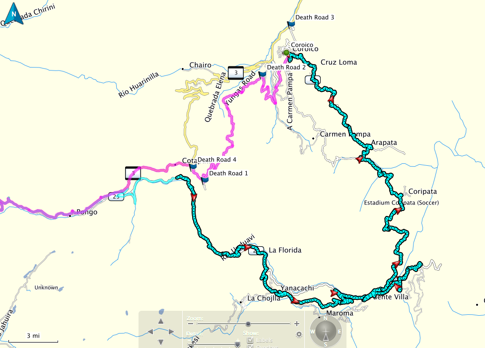 North Yungas Road Bolivia Map
