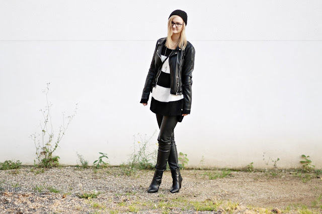 black and white minimal autumn outfit