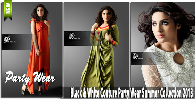Black & White Couture Party Wear Summer Collection 2013