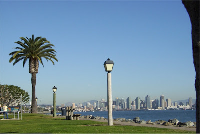 San Diego, skyline from Harbor Island, http://sueallemand.blogspot.com