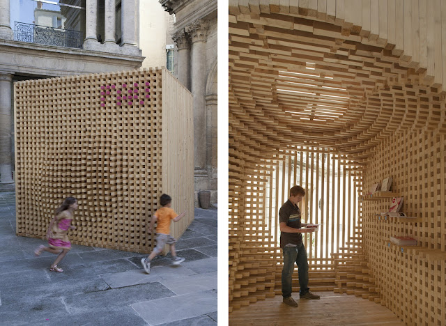Un pabell n formado por m s de mil listones de madera for Pabellones arquitectura efimera