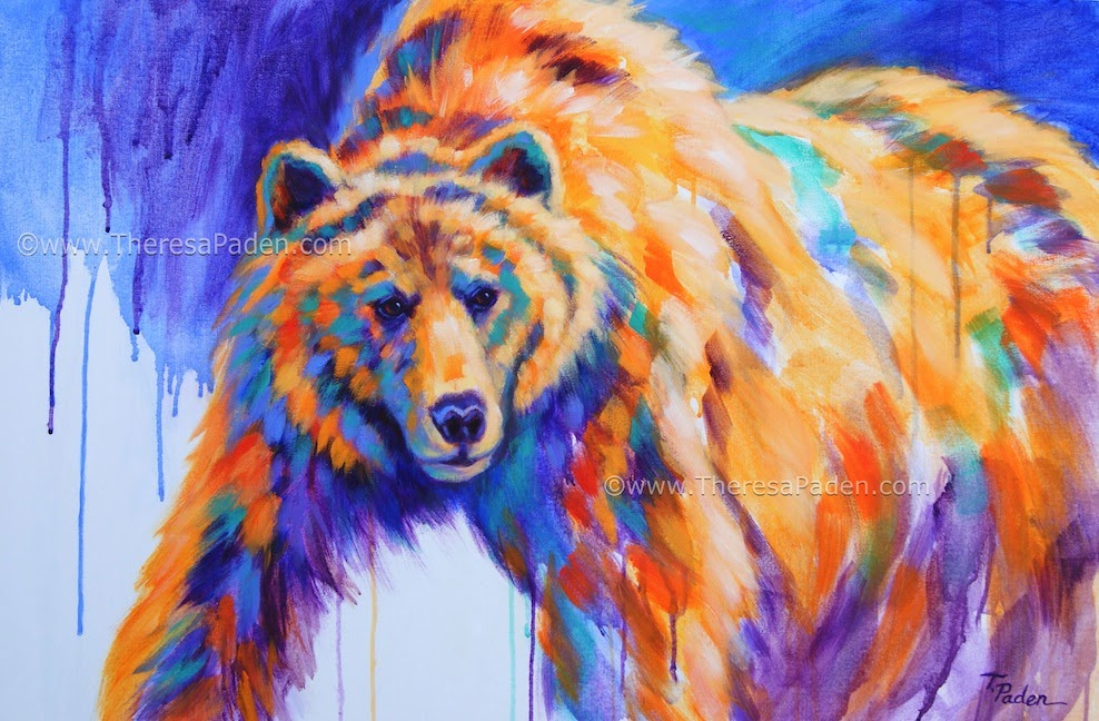 Animal Paintings In Bright Colors Contemporary Bear By Theresa Paden