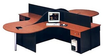 Four modules desk in cherry wood and black