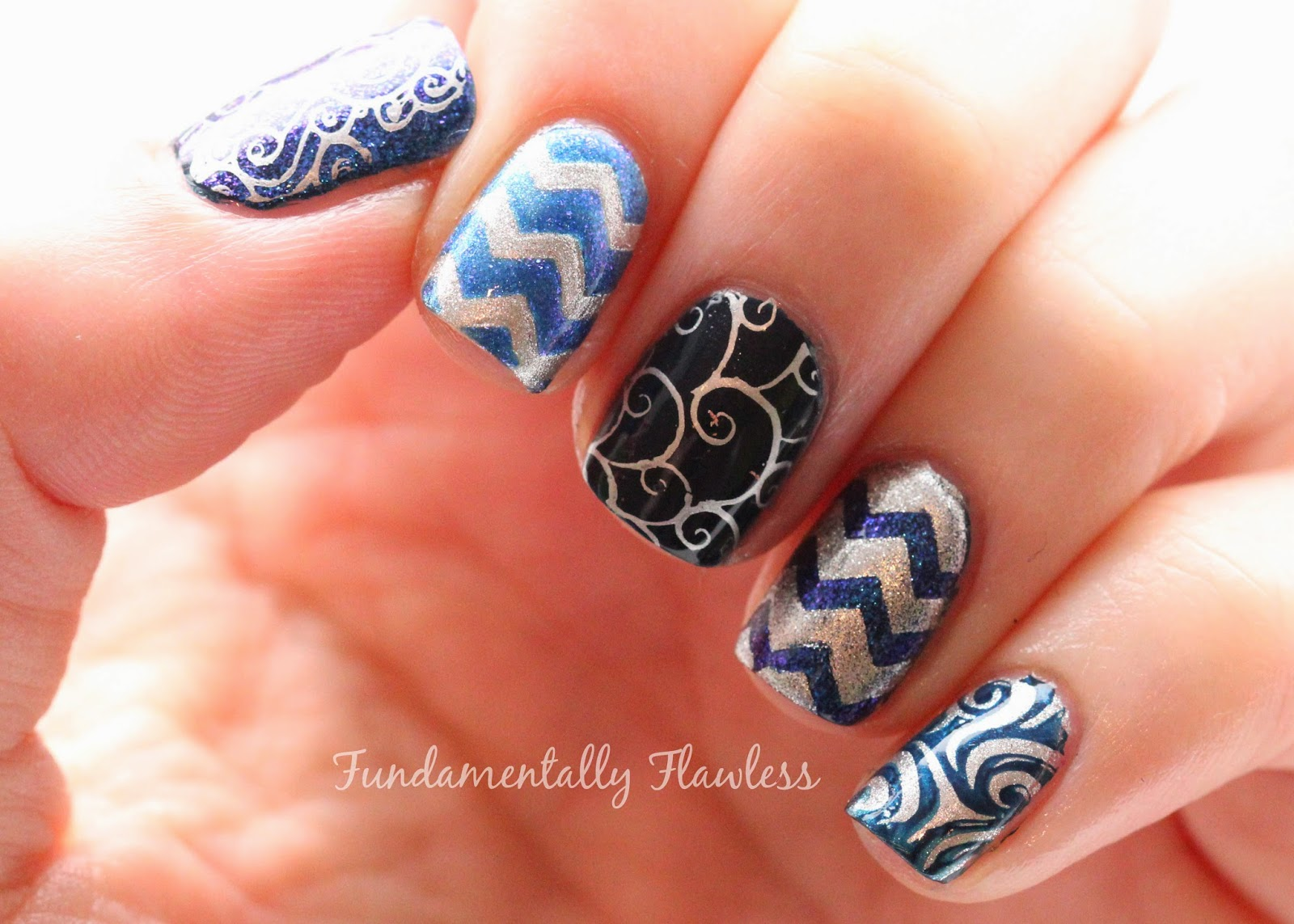 Navy Blue and Silver Nail Art with MoYou Sailor Collection 03 and Nail Vinyls