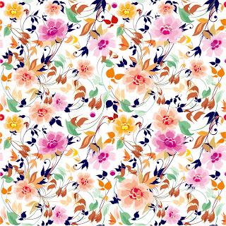 シームレスな美しい花柄パターンの背景 Flowers Seamless Pattern Element Vector Background イラスト素材