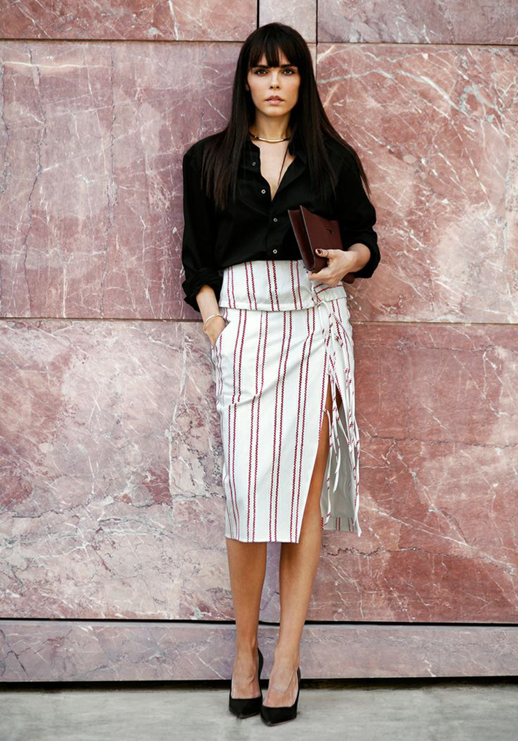 Evangelie Smyrniotaki from Style Heroine in an Altuzzara ss14 high slit skirt
