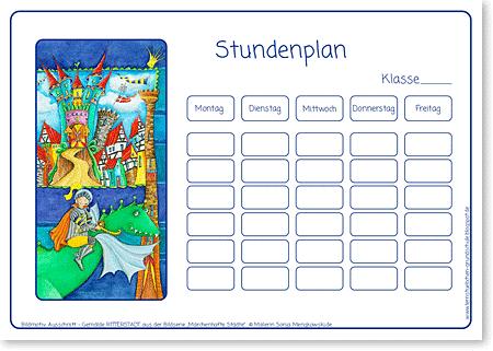 Stundenplan - Ritter - Format DIN A4 - Grundschule