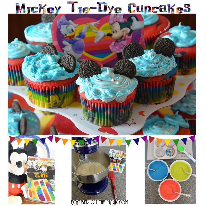 Focused on the Magic: #DisneySide Mickey Tie-Dye Cupcakes
