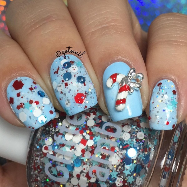 Glitter Lambs Peppermint Blizzard Nail Polish, Custom blended glitter nail polish, Christmas Nails, Handmade Nail Polish, Nail art, Nail Designs, Christmas Peppermint Nail Pictures, Indie Nail Polish,