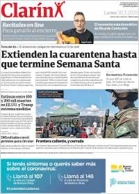30/03/2020    UNA  PRIMERA PÁGINA DE LA PRENSA ARGENTINA