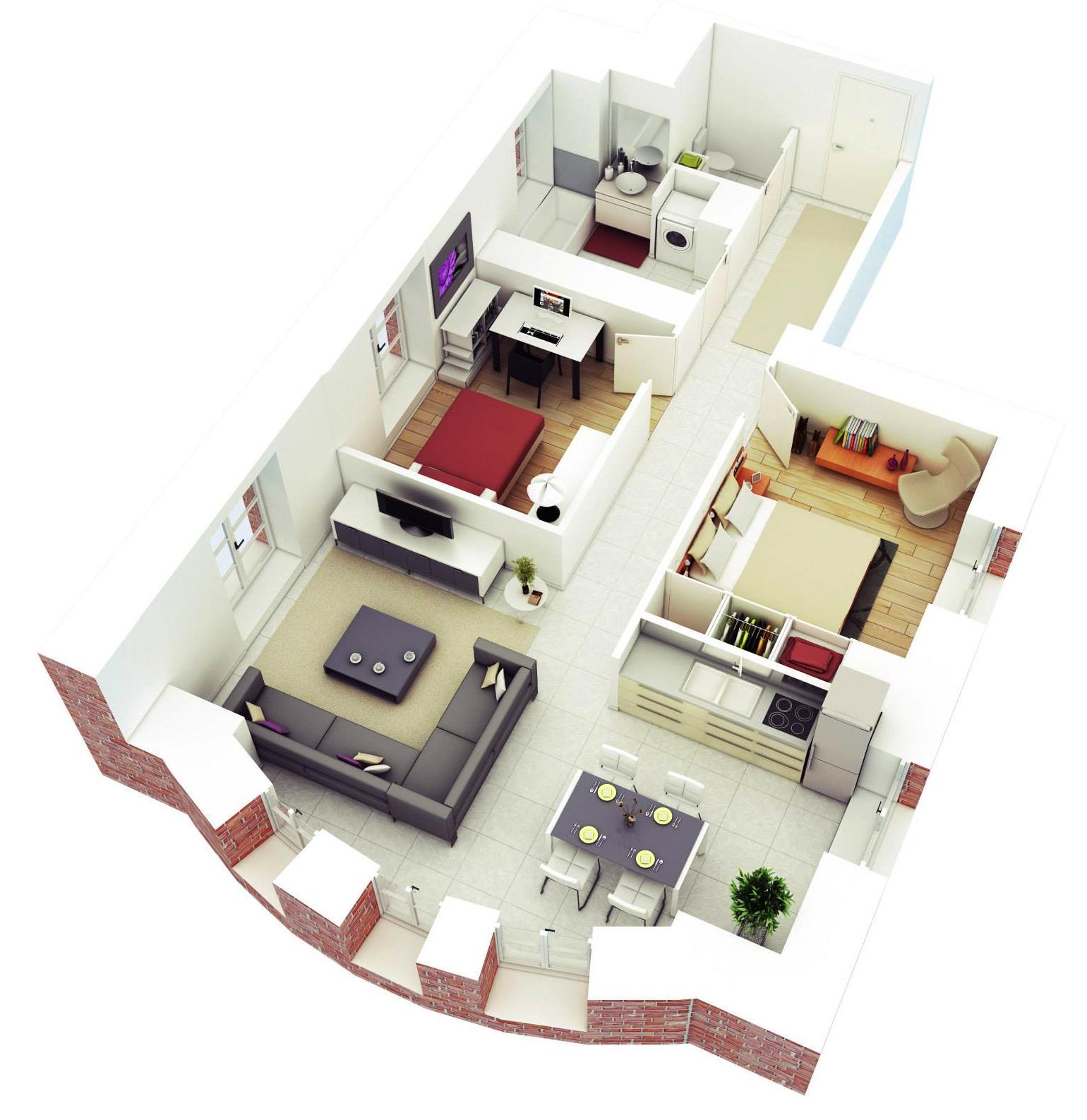 Amazing 3D Floor Plans: 3D Small House Floor Design From Rishabh Kushwaha