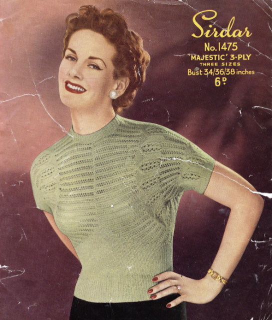 The Vintage Pattern Files - Free 1950's Knitting Pattern - Sirdar No.1475 Lace Blouse