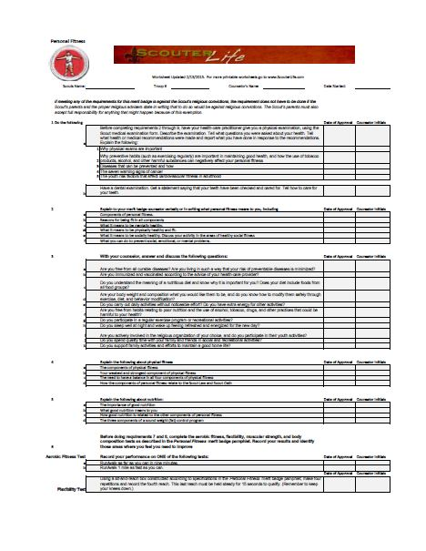 Printables Personal Fitness Merit Badge Worksheet bsa personal fitness merit badge worksheet abitlikethis labels boy scouts badges fitness
