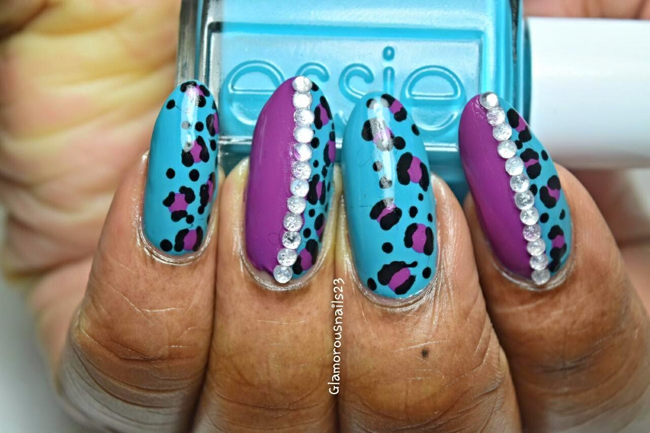 Leopard Print & Studs Nail Art