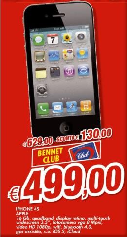 Bennet propone nuovamente i prodotti Apple con sconti tramite la carta Club; questa volta troviamo l'iPhone 4S a 499 euro