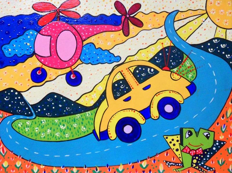 Cuadros modernos pintura decorativa con carritos - Como pintar un cuadro moderno ...