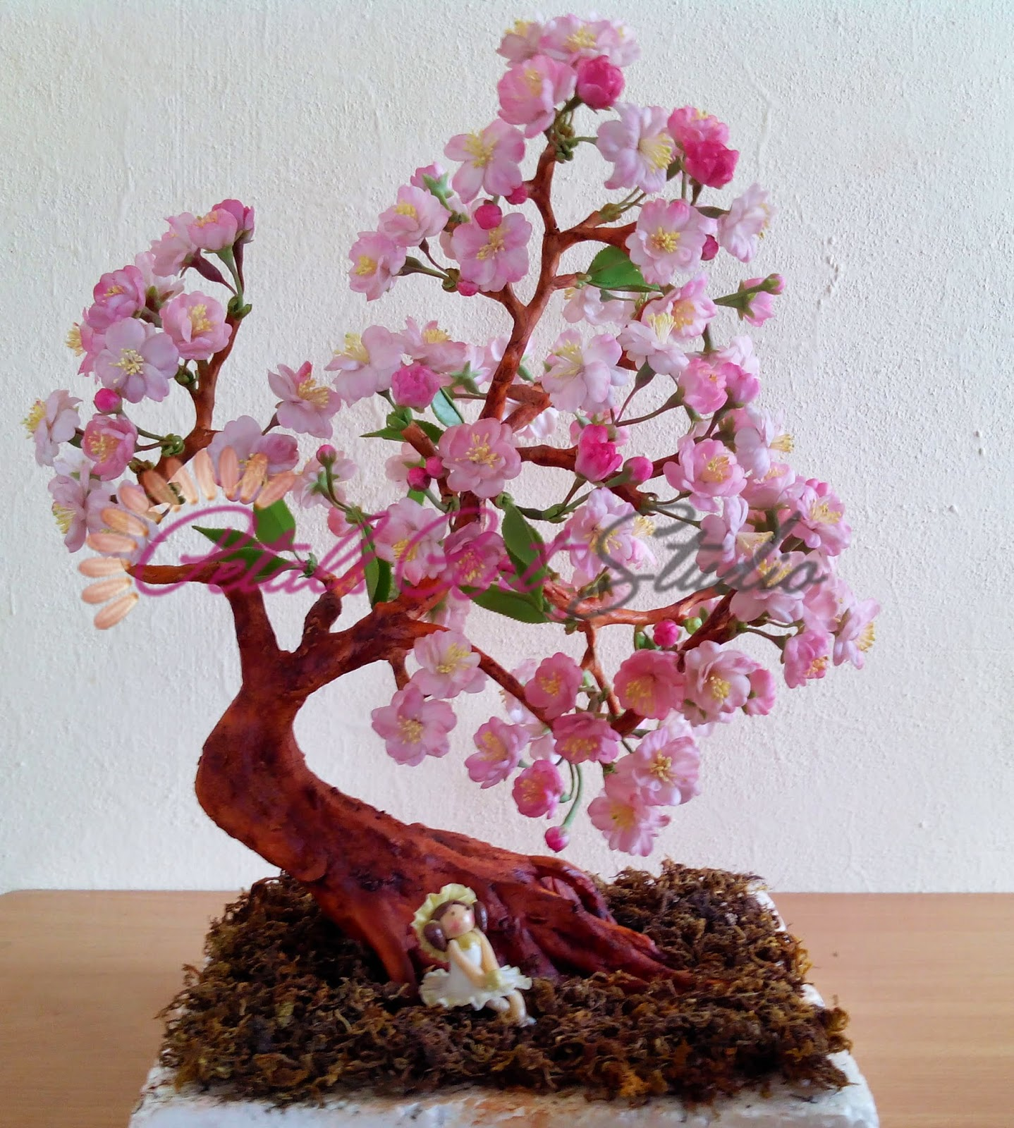 Thai Clay Sakura Bonsai Tree Petals Art Studio