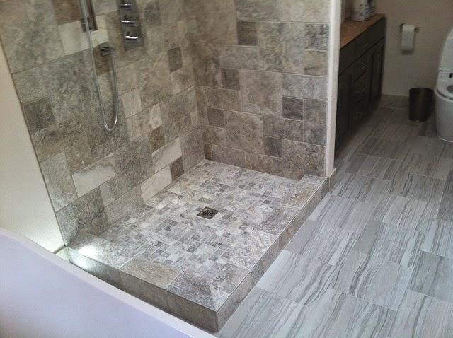 Stone Shower w/ Motion Tile Floor