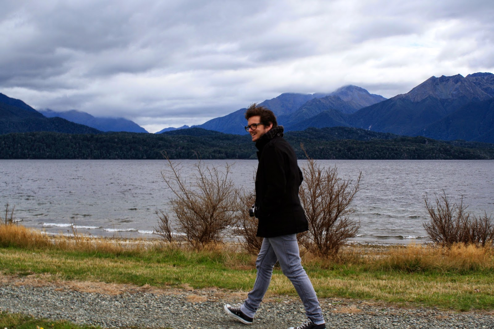 Going for a walk around Lake Te Anau.