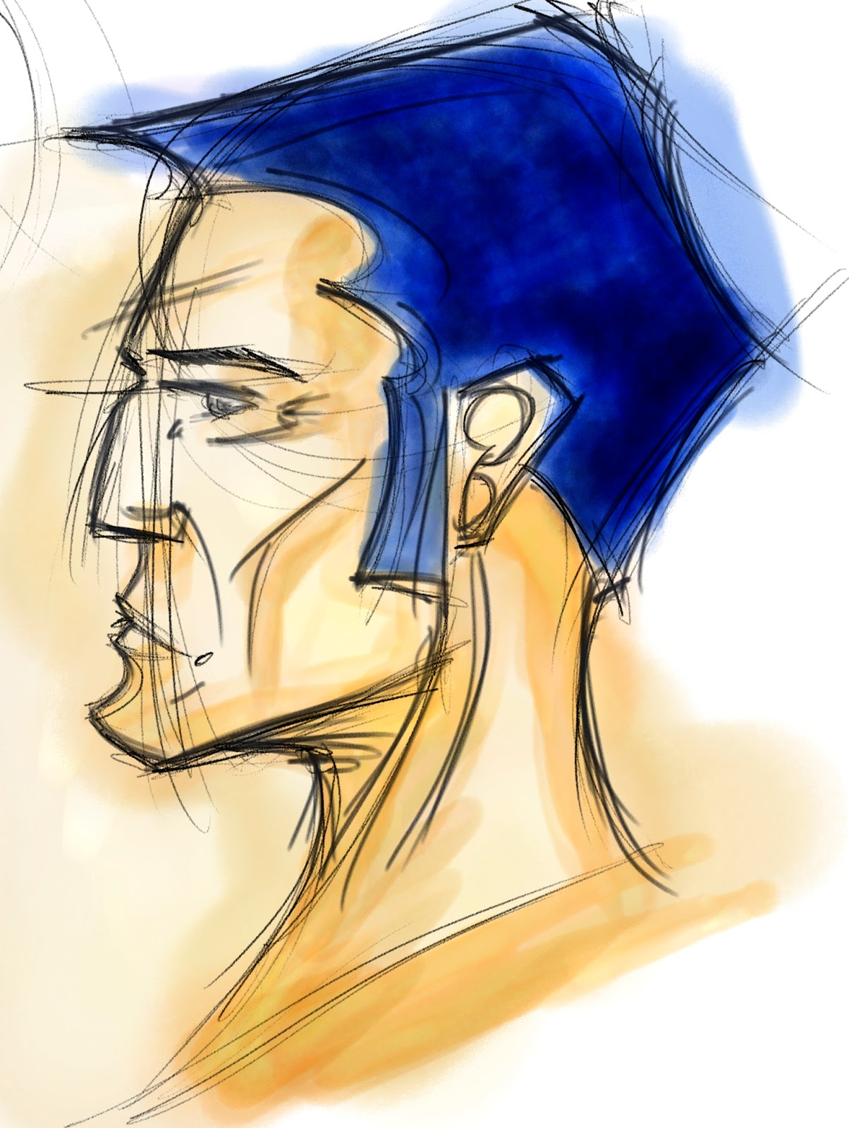 Croquis  / speed painting Profil+vieille+homme
