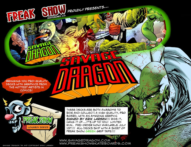 Freak Show Longbox Skateboard Series - Savage Dragon Skate Deck by Erik Larsen