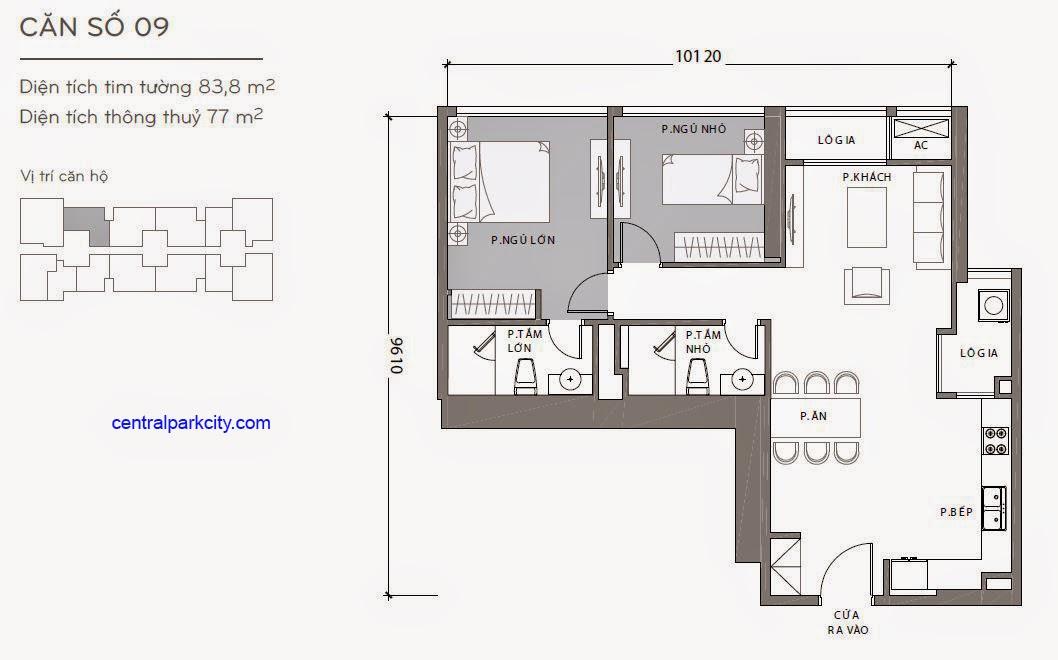Căn hộ Landmark 2 & 3 - kiểu nhà số 09 - 83.8m2 - 2PN