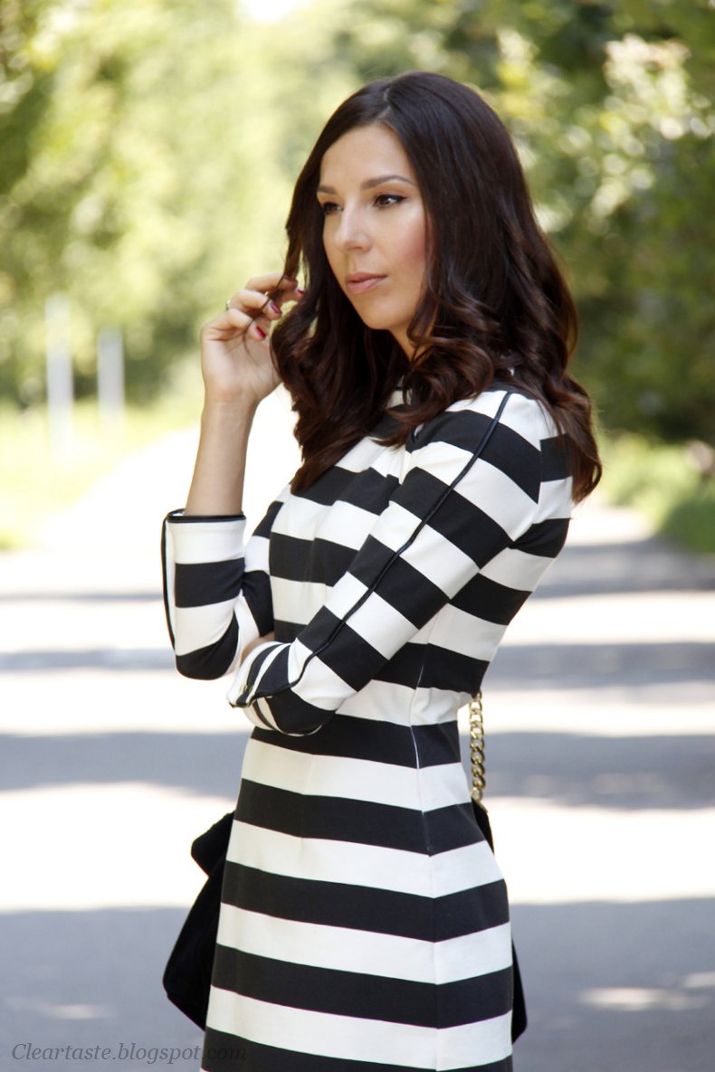 black and white zara dress