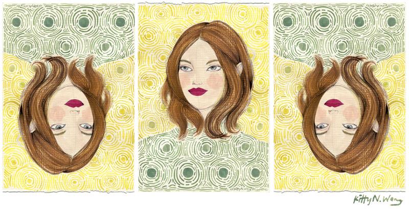 Kitty N. Wong / Vincent Van Girgh triptych. Sketchbook Girls fashion painting