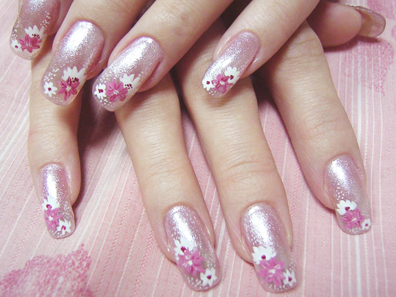 Pink Nails with Pink and White Flowers