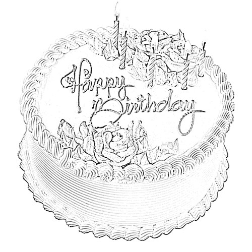 Happy Birthday Cake Sketch - Image Sketch