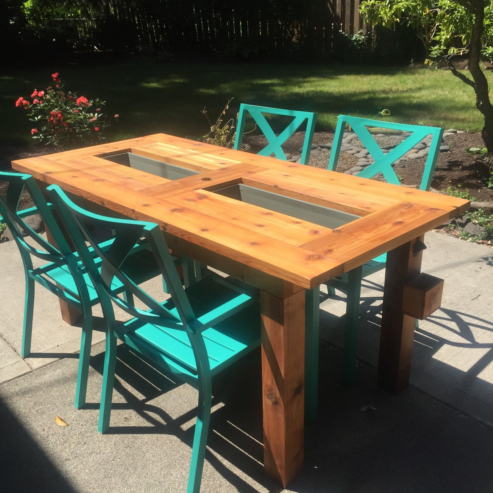 Ice box wood ice box wood cedar tables for Table with cooler in middle