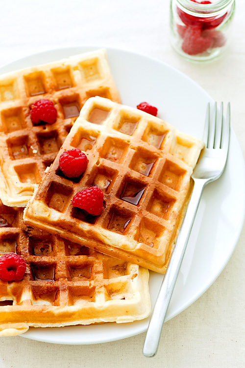 erinnish: Waffles with Raspberries & Maple Syrup