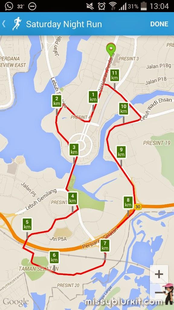 #MaltaMY, Adidas, MHWH Night Run 2015, Mongoose, putrajaya, runkeeper, running, running routes, Ultra Boost,