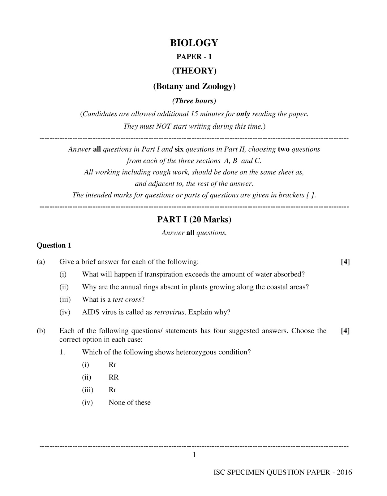isc 2016 class 12th biology Specimen question paper