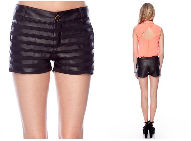 Hot and delicious lined up shorts in black form tobi, black shorts from tobi, faux leather shorts, black shorts, black lined shorts, tobi