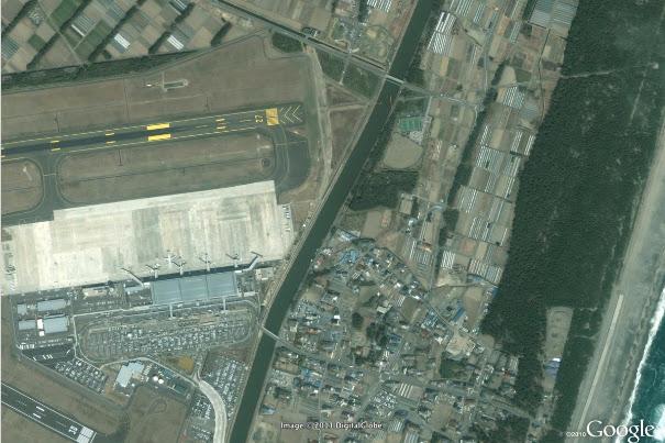 japan tsunami 2011 before and after. Yagawahama, Japan, After the