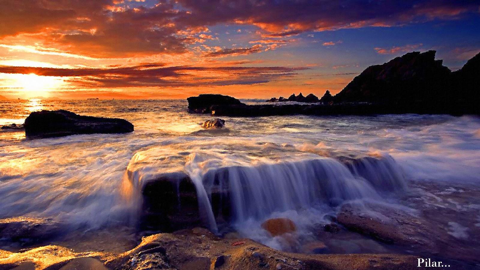 El mar azul.....la mar...sus olas ROMPEOLAS+AL+ATARDECER