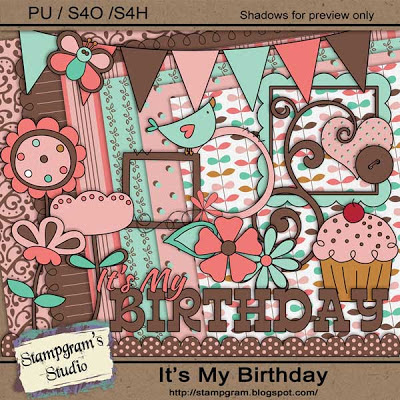 "Free scrapbook ""Its my birthday"" from Stampgrams studio"