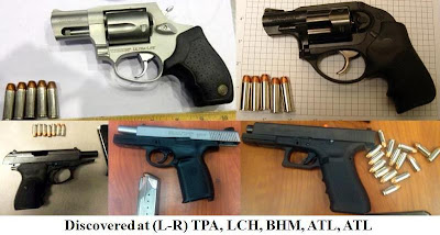 5 loaded firearms.