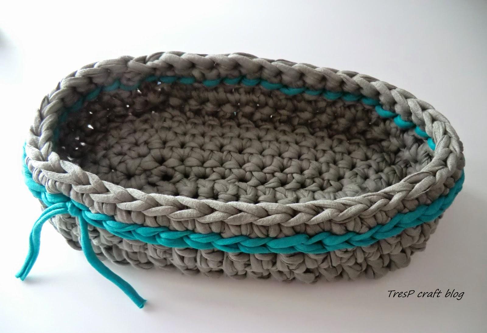 Tresp craft blog cesta de trapillo ovalada - Cosas de trapillo ...
