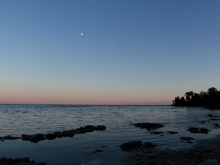 Moon rising over Lake Michigan at Newport State Park, Door County, WI
