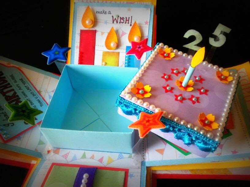 The Cake In Center Is A Box For Keeping Gift This Was Made Guy On His Birthday So Lot Of Blue N Yellow Red Colors Use