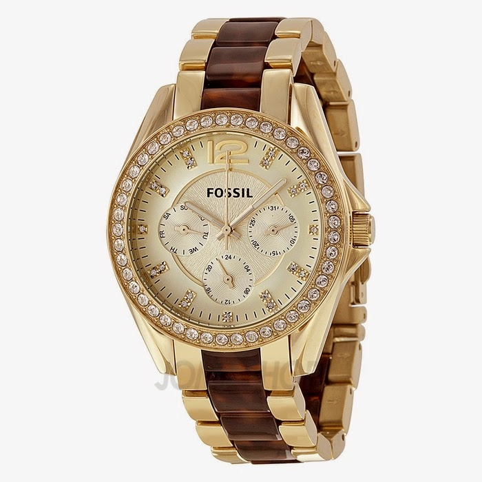 Fossil-Riley-Champagne-Dial-Gold-Tone-Tort-Ladies-Watch ES3343