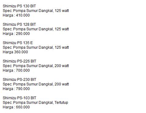 harga shimizu pompa kategori sumur air dangkal 476x369 pixel