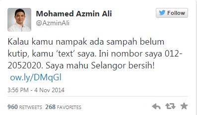 No telefon Azmin Ali