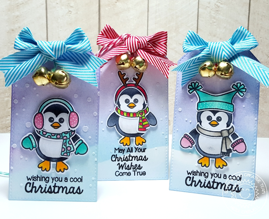 Sunny Studio: Bundle Up Winter Penguin Holiday Gift Tags With Heidi