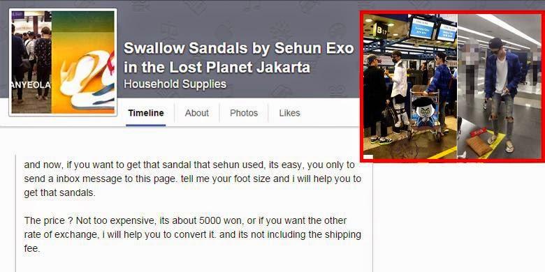 """Penjual """"sandal Sehun"""" di Facebook"""